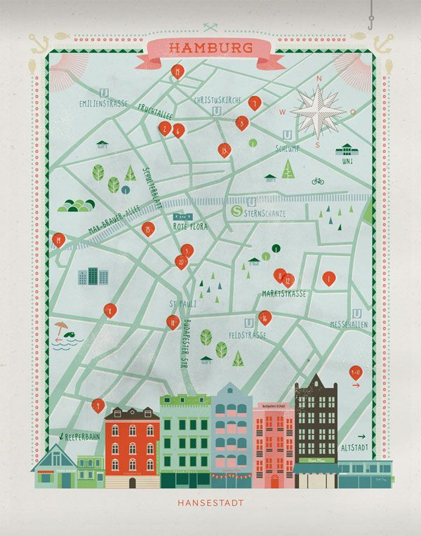 Hamburg – City Map Illustration by Anna Härlin - we could make a city skyline with a map of our EIP concepts like this or something else applicable