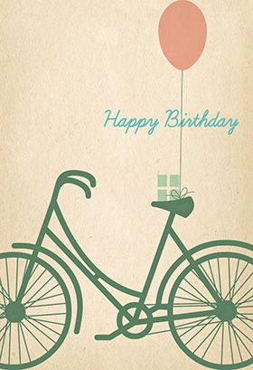 """""""Birthday bicycle"""" printable card. Customize, add text and photos. print for free!"""