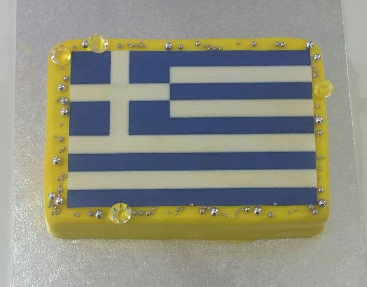 Greek Flag Diamonds Cake Griechische Flagge Diamanten Torte