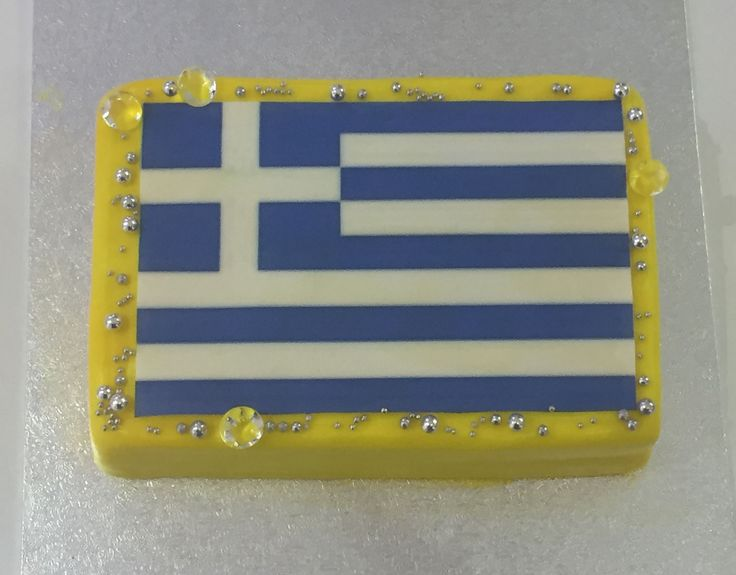 Greek Flag Diamonds Cake Griechische Flagge Diamanten Torte