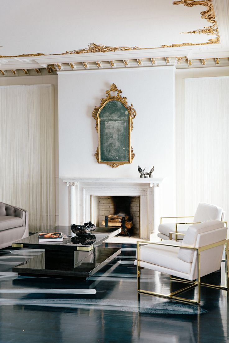 Catherine Kwong's stunning modern living room at the 2013 SF Decorator Showcase. Room inspiration: Mick + Bianca Jagger. LOVE the hand-painted floors!    via www.thecuratedhouse.com