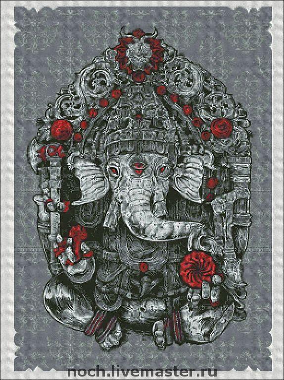 """Купить Схема для вышивки """"Бог мудрости Ганеша"""" - авторская схема, Вышивка крестом"""