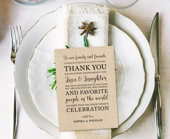 Wedding Thank You Card or Sign in 3 Sizes 5x7 4x6 and