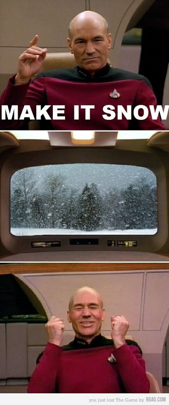 Picard uses his power for snow.