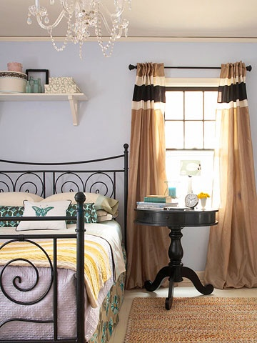 Periwinkle + Brown + Teal- more master bedroom inspiration. I won't be painting my walls periwinkle, but i like the teal and yellow accents.