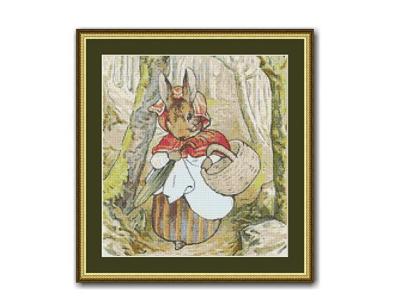 "The Tale of Peter Rabbit #4 Cross Stitch Chart / Pattern, ""To The Bakery Shop"", Beatrix Potter, Instant Download (TPR004)"
