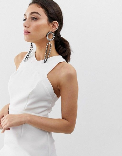865248b7189 River Island midi dress with high neck in white in 2019