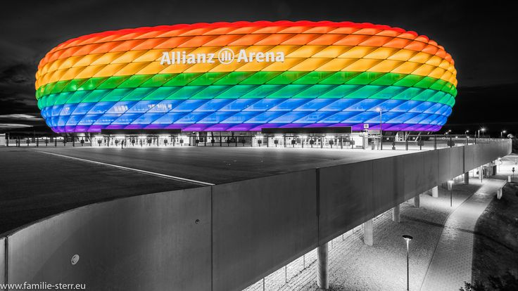 Allianz Arena München in rainbow-colors on Christopher Street Day 2017