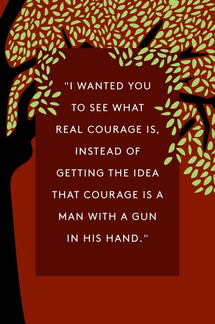 """""""I wanted you to see what real courage is, instead of getting the idea that courage is a man with a gun in his hand. It's when you know you're licked before you begin, but you begin anyway and see it through no matter what. You rarely win, but you sometimes do."""" — Atticus Finch"""