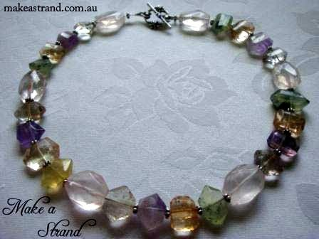 A collection of beautifully balanced crystals feature in this elegant choker - citrine, peridot, clear quartz, amethyst, smoky & rose quartz In stock: AU$220 + postage