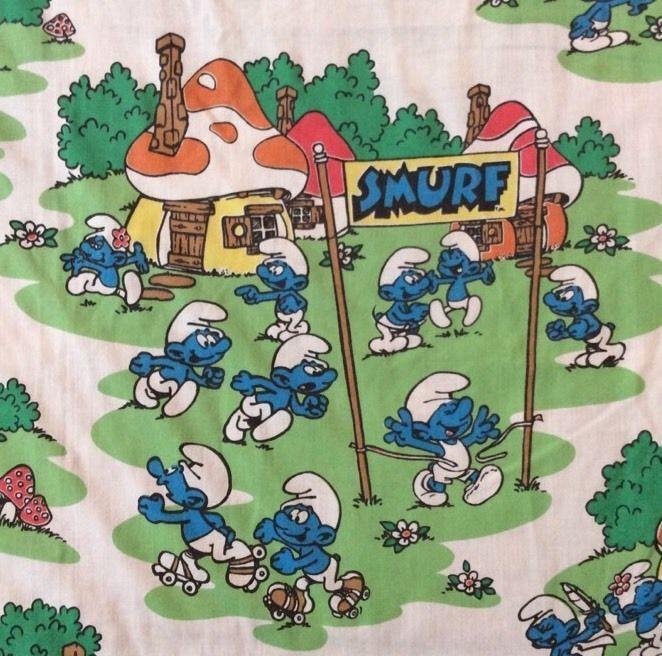 Smurfs Twin Flat Sheet Fabric Cutters Latex Village Band Boat Sports 65X93 Peyo  | eBay