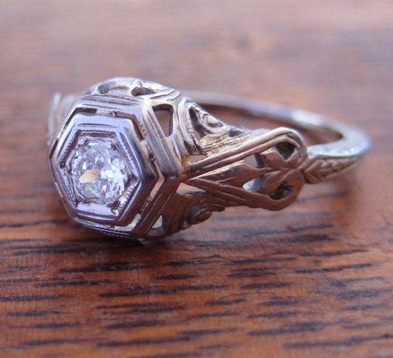 I gladly offer layaway payment plans... just ask! :)  Classic Antique Engagement Ring... a little bit Art Deco, a little bit Art Nouveau!