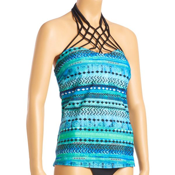 Island Escape Blue Love in Bali Paradise Macrame Bandeau Tankini Top ($17) ❤ liked on Polyvore featuring swimwear, bikinis, bikini tops, plus size, bandeau bikini, plus size swim wear, swimsuit tops, plus size tankini tops and bandeau bikini tops