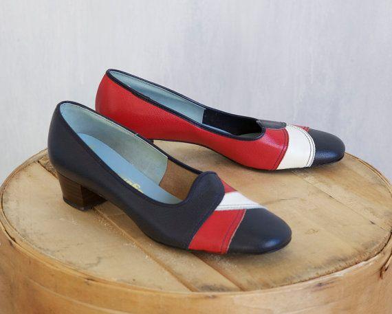 scarpe vintage blue e rosse / 60s mod scarpe / misto blue rosse e bianche scarpe scarpe lether / blu / blu marino