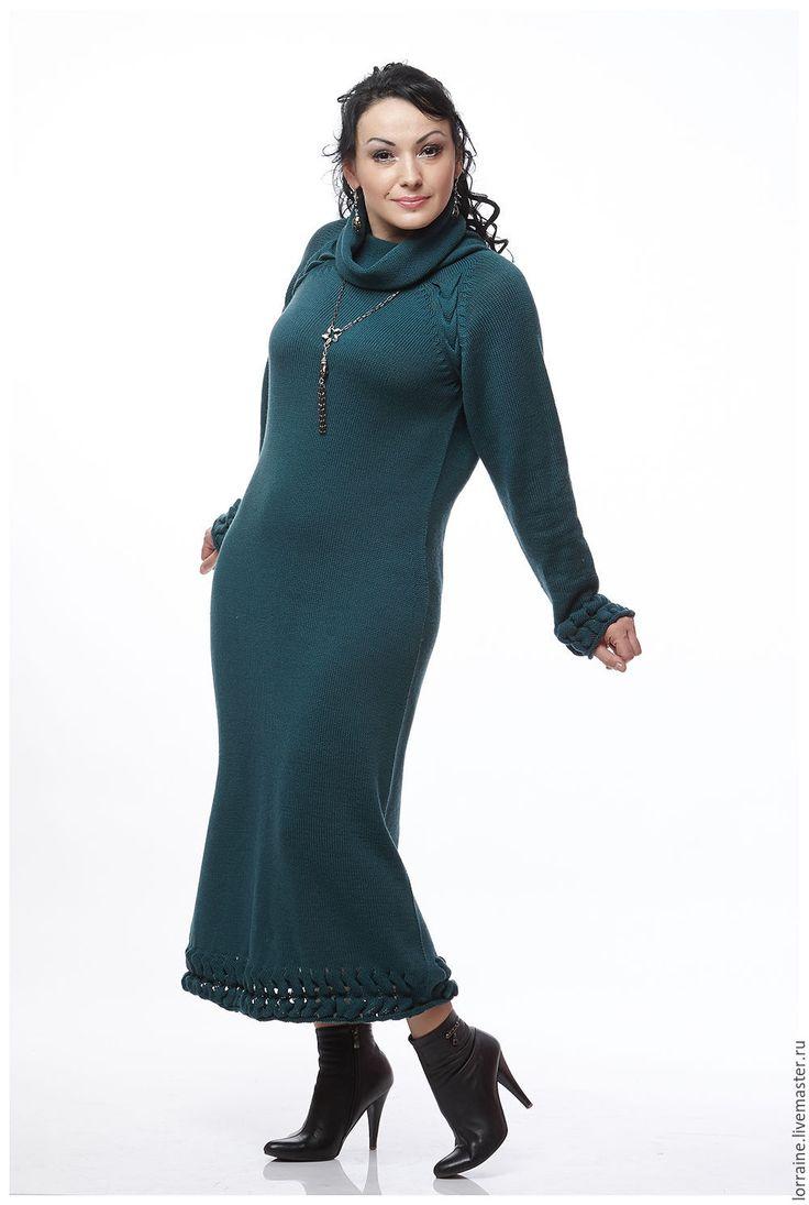 Купить Платье в пол вязаное Елена Прекрасная из 100% шерсти - тёмно-зелёный, однотонный
