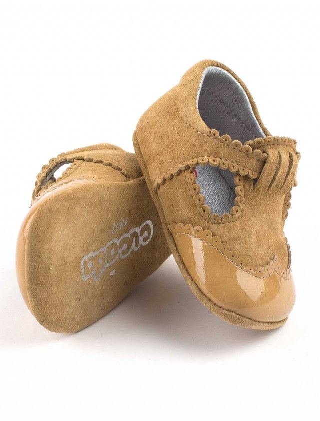 brogues baby booties with buckle