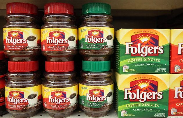 SAN FRANCISCO, CA - MAY 24:  Packages of Folgers coffee are displayed on a shelf at Cal-Mart Market on May 24, 2011 in San Francisco, California. Smuckers, who makes Folgers and Dunkin Donuts coffee announced today that they will raise prices close to 11 percent on U.S. coffee products.  (Photo by Justin Sullivan/Getty Images)