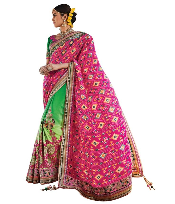 Naksh - Green And Pink Designer Patola Saree