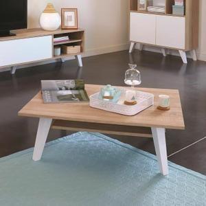 Table Basse PRISM Table basse scandinave mélaminée décor chêne