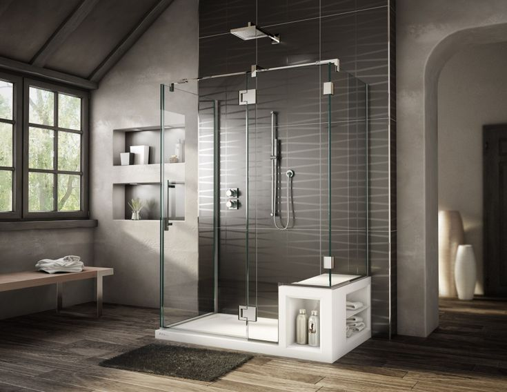 Bathroom:Fancy Decorating Ideas For Modern Bathroom With Glass Shower  Enclosure Plus White Shower Pan Also Small Rug On The Brown Wood Laminate  Floor Plus ...