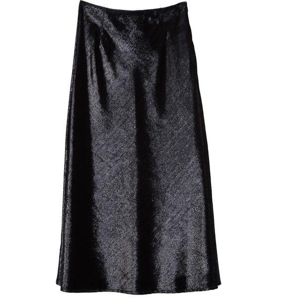 Velvet Midi Skirt (4,455 INR) ❤ liked on Polyvore featuring skirts, knee length flared skirts, midi flare skirt, calf length skirts, flared midi skirt and flared skirts