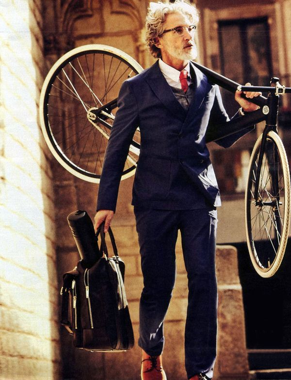 Aging semi-corporate hipster.: Riding A Bike, Fashion Men, Old Men, Blue Suits, Men Style, Gentleman Style, Yoga Mats, Bike Style, Style Fashion