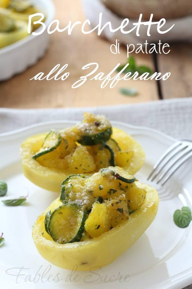 Barchette di patate e zucchine allo zafferano - saffron potato and zucchini boats