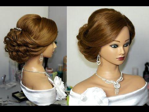 ▶ Bridal updo. Hairstyles for long medium hair. Свадебная прическа, вечерняя прическа. - YouTube