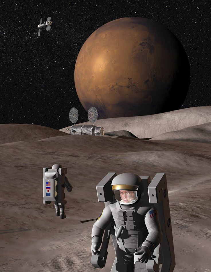 Human Mission to Deimos...moon of Planet Mars. http://www.aerospaceguide.net/moons.html #space #travel #red #planet #moons