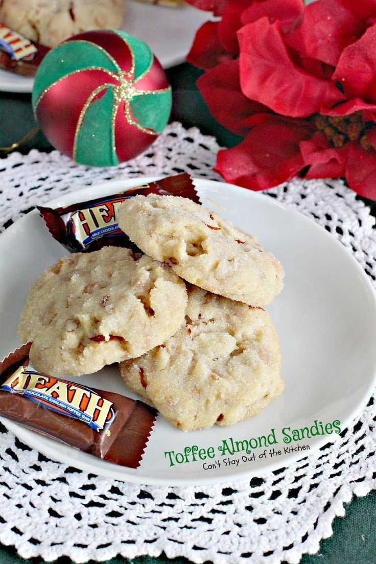 Toffee Almond Sandies | Can't Stay Out of the Kitchen | these sensational #cookies are filled with #HeathEnglishToffeeBits and #almonds. We love #baking these for #Christmas cookies. #dessert