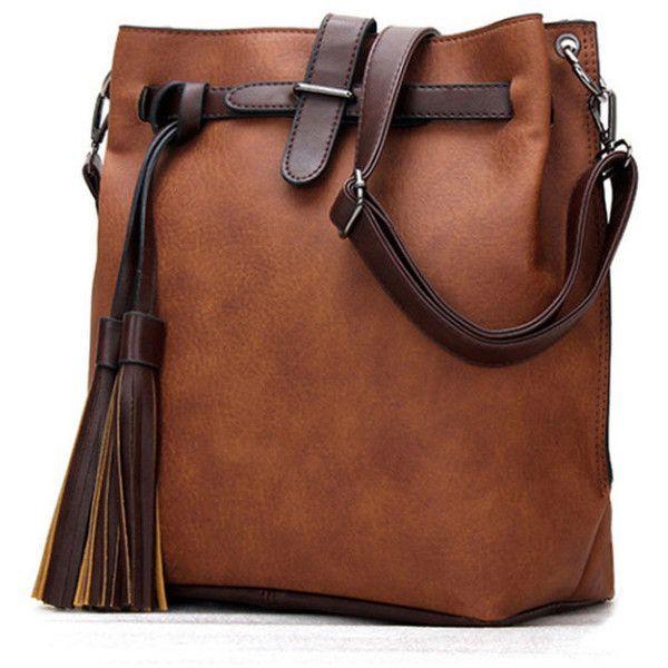 Color Block Long Tassel Shoulder Bag – Bychicstyle.com found on Polyvore