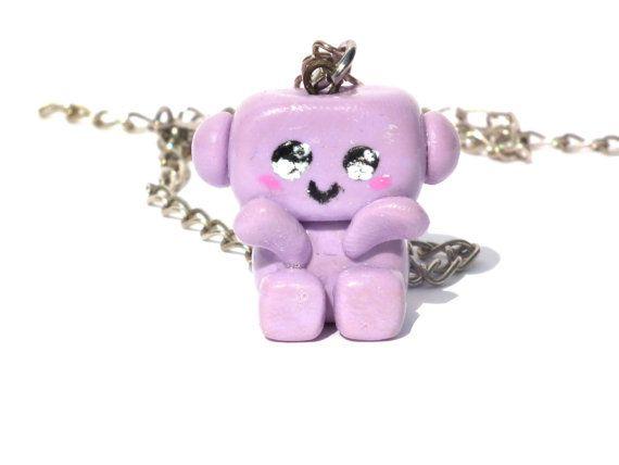 robot necklace purple robot kawaii robot by LittlePandahugs