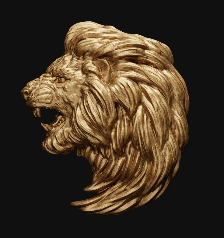 lion head relief 2 3d model obj fbx stl blend 1