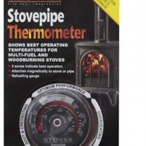 Stovepipe Thermometer Coupled with dry, well seasoned wood, this simple device will show you how to maximise the efficiency of your wood fuel.  The Stovepipe Thermometer shows the optimum performance of your wood burning stove at a glance.  The thermometer  works on the basis of thermal expansion – the change in temperature in the coil gives the needle reading. £18.00