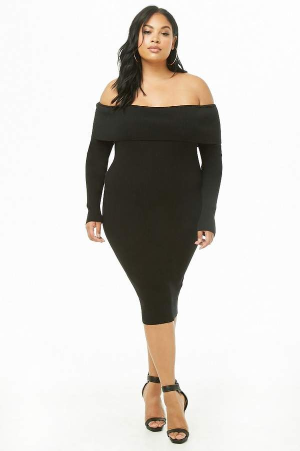Forever 21 Plus Size Foldover Off The Shoulder Dress Elect Ladies