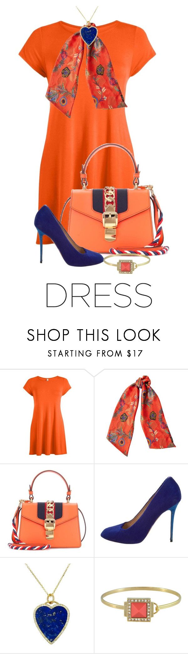 """""""Orange Tee Shirt Dtess"""" by shamrockclover on Polyvore featuring Etro, Gucci, CÉLINE, Jennifer Meyer Jewelry and Sequin"""