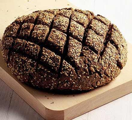 This recipe uses a basic bread dough method, but the mix of flours gives an interesting texture and flavour