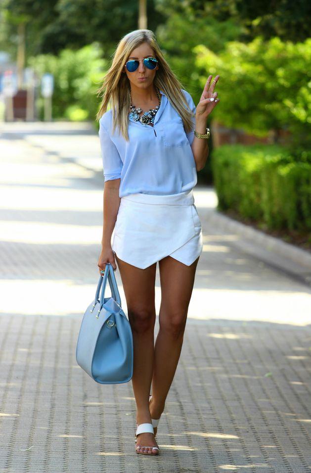 Sheinside Blue Women's Chiffon Split Neckline Thin Collar Blouse