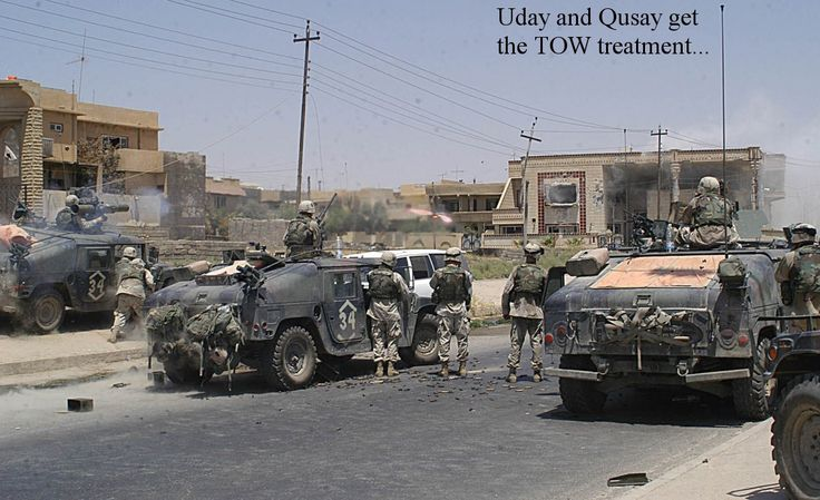 Uday and Qusay Hussein get the TOW treatment by 82nd Airborne Division TOW gunners during the Iraq War