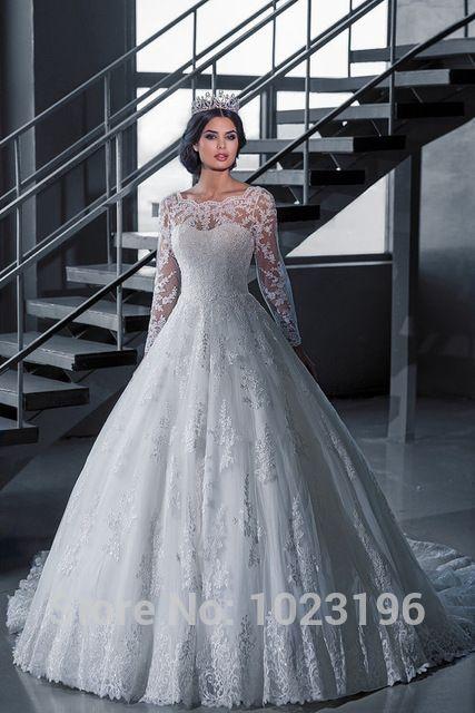 Элегантный Vestido Novia старинные белый бальное платье свадебное платье с рукавами халат мантия-де-mariage княгини Brial платье 2015