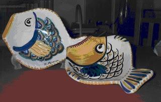 piatti pesce piccoli in ceramica dipinta a mano