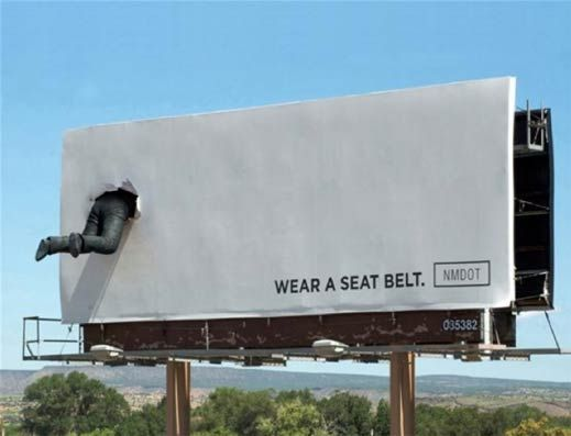 "New Mexico Road Safety – 2011  ""Wear a seatbelt""  Source : P8perplane  Agency : Esparza Advertising (USA) ""Use el cinturón de seguridad"""