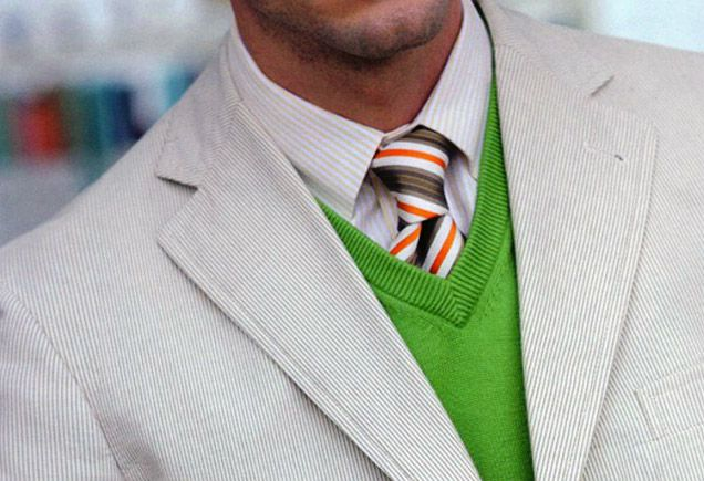 Light grey jacket, grey pinstripe shirt, brown/orange/white/blue stripe tie, green sweater vestLights Grey, Colors Combos, Offices Style, White Shirts, Men Style, Men Fashion, Colors Combinations, Bold Colors, Grey Dresses