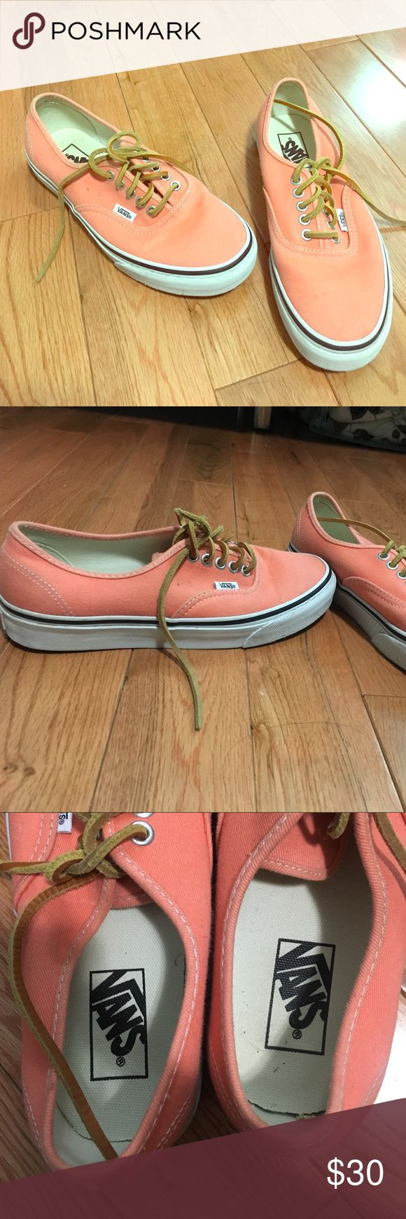 Vans original design with boat shoe laces Light orange. Thick laces similar to boat shoes. Great condition. Barely used. Size 8. Vans Shoes Sneakers