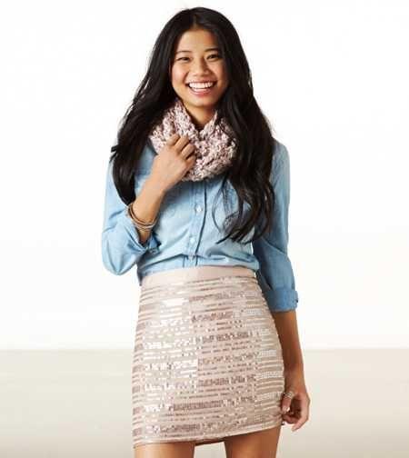 AE Sequin Striped Mini Skirt