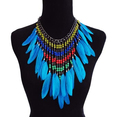 Afia Beaded and Feather Necklace (Sky Blue)