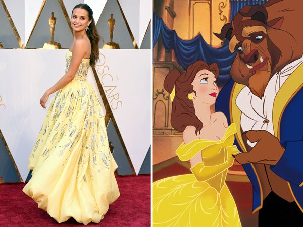 Alicia Vikander Channels Belle from Beauty & the Beast on the Oscars Red Carpet http://stylenews.peoplestylewatch.com/2016/02/28/alicia-vikander-oscars-2016/