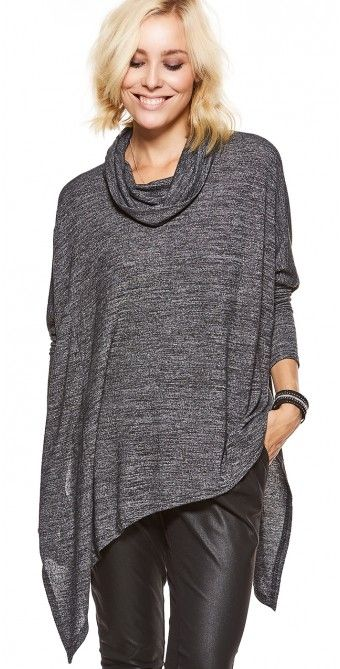 LikeLondon tröja oversize med krage mörkgråmelerad