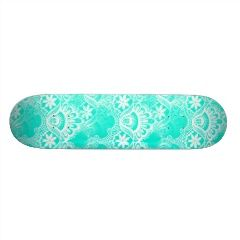 Elegant Vintage Teal Turquoise Lace Damask Pattern Skateboards | Skateboards for Girls