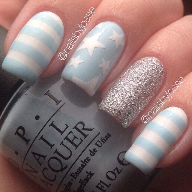 21 adorable striped nails I thought this one would be cute for a baby boy shower!!!